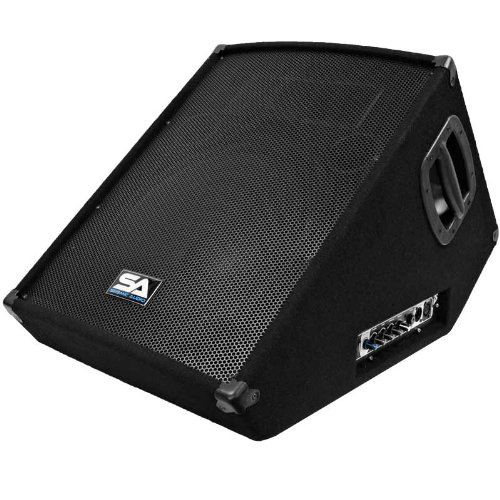 Seismic Audio - SA-15MT-PW - Powered 2-Way 15'' Floor / Stage Monitor Wedge Style with Titanium Horn - 350 Watts RMS - PA/DJ Stage, Studio, Live Sound Active 15 Inch Monitor by Seismic Audio