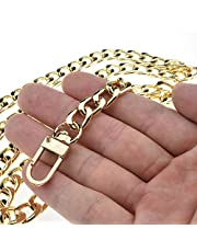 "HAHIYO Purse Chain Strap Length for Shoulder Cross Body Sling Purse Handbag Clutch Bag Replacement Strap Comfortable Flat 0.4"" Wide Enough 2.4mm Extra Thick Metal Strap 1 Pack, Gold 43.3"" Length"