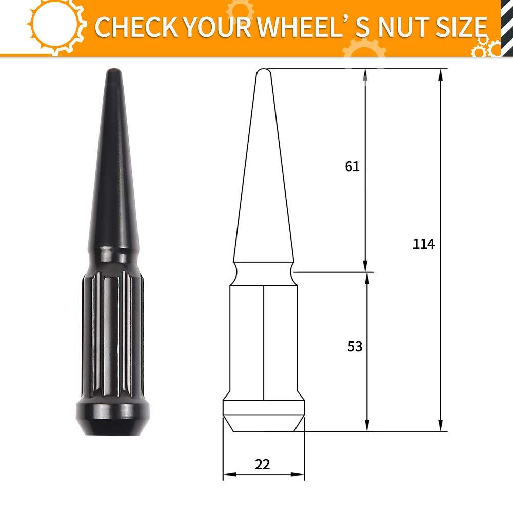 32pcs Black Spike Lug Nuts 14mmx1.5 Solid 4.4 Tall Acorn Lug Nut with 1 Socket Key for Chevy Silverado 1500 2500 3500 F-150 F-250 F-350 MIKKUPPA M14x1.5 Wheel Spike Black Lug Nuts
