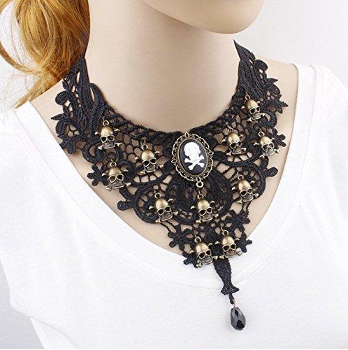 [Restoring ancient ways Black lace Punk terrorist Skull alloy Ms clavicle necklace accessories] (Terrorist Costumes)