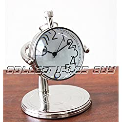 Vintage Small Clock for Table Decorative Silver Clock Marine Watch Gift