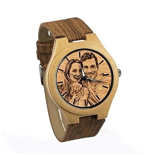 Reloj de Madera con Foto Personalizada Reloj de Madera de Bambú Natural para Hombre Relojes de ...