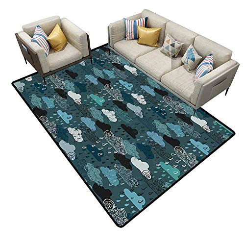 Carpet Squares Lake House Decor Cloud Sketches with Curly Lines Forecast Atmosphere Sky Kids Nursery Theme Teal Blue Rug pad Area 6'x9' (Contemporary Forecast Revolution)