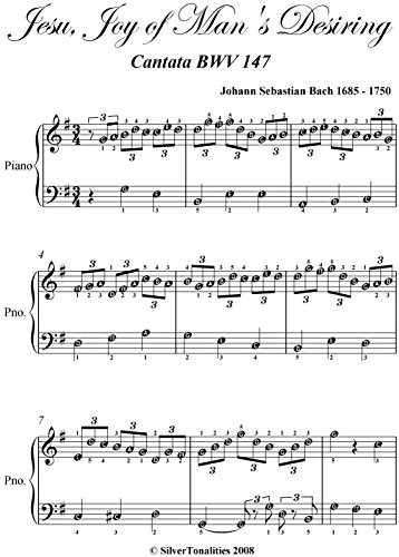 Jesu Joy of Man's Desiring Bach Easy Piano Sheet Music ()