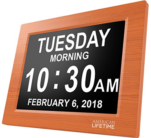 American Lifetime [Newest Version] Day Clock - Extra Large Impaired Vision Digital Clock with Battery Backup & 5 Alarm Options (Brown Wood Color) Extra Memory