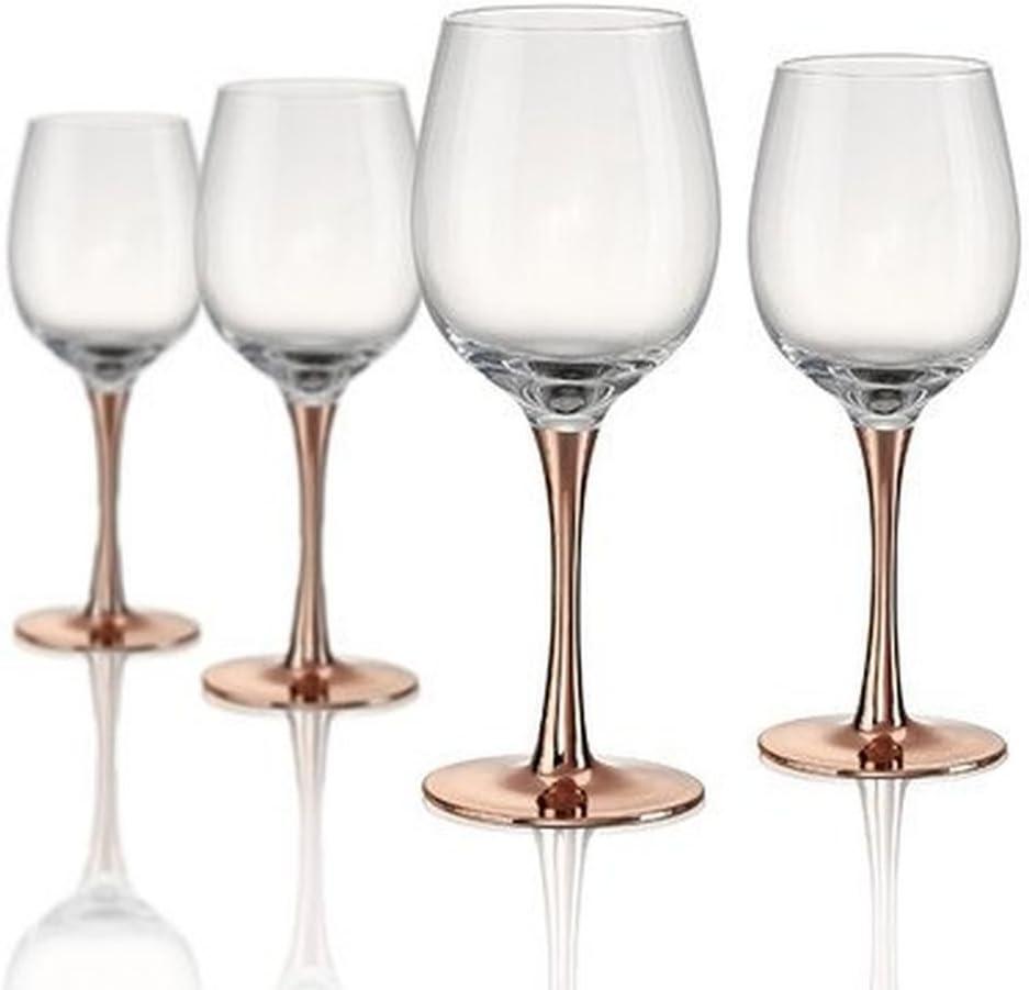 Artland Coppertino Wine Glass, Set Of 4, 14 oz, Clear/Copper