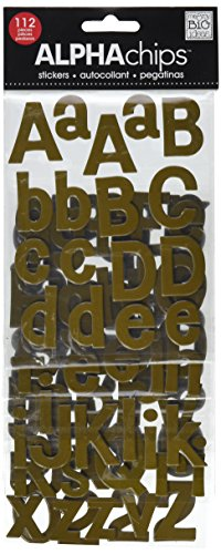 me & my BIG ideas Alpha Chips Designer Chipboard Letter Stickers, Bailey Alphabet, Brown Ultraviolet ()