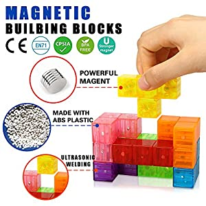 Magnetic Building Blocks, Brainteaser Puzzles Magnetic Tiles, 7pcs/set Magic Transparent Speed Cube with 54pcs Smart Cards Intelligence Toys for Kids, Stress Relief Educational Construction IQ Test