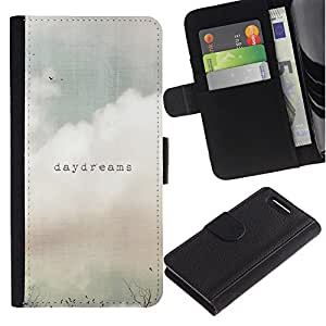 KLONGSHOP / Tirón de la caja Cartera de cuero con ranuras para tarjetas - Daydreams Vignette Quote Text Summer Field - Sony Xperia Z1 Compact D5503
