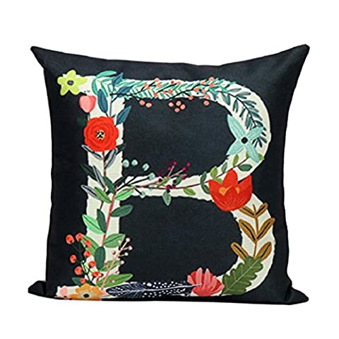 Colorful Flowers and Letters Flax Pillowcases,HighpotVarious Colors and Patterns FlowersPillow Cushion - Flax Color