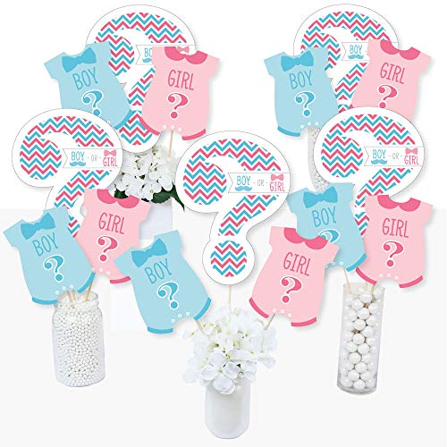 Chevron Gender Reveal - Gender Reveal Party Centerpiece Sticks - Table Toppers - Set of 15 for $<!--$14.99-->