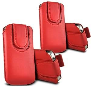 ONX3 - TWIN PACK - Samsung Galaxy Xcover S5690 botón magnético PU Tire de la lengüeta protectora de piel cubierta de bolsa de la caja (rojo)