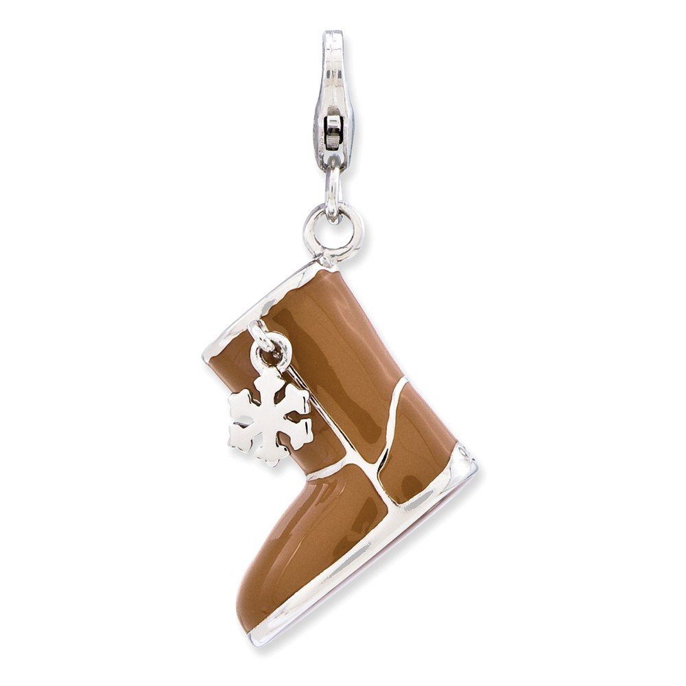 FB Jewels Solid 925 Sterling Silver Enameled 3-D Snow Boot Lobster Clasp Charm