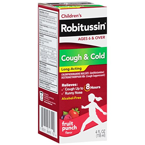Robitussin Children's Long-Acting 8-Hour Cough & Cold Relief (Fruit Punch Flavor Liquid, 4 fl. oz. - Liquid Acting Long Cough