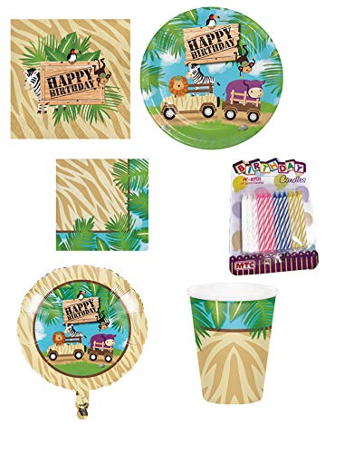 (Jungle Animal Safari Adventure Kids Birthday Party Supplies 6-Piece Bundle, Including Disposable Plates, Napkins, Cups, Metallic Balloon, and Candles)