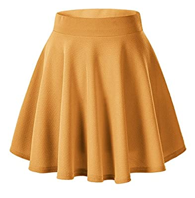 Urban CoCo Women's Basic Solid Pleated Mini Skate Skirt Versatile Stretchy