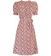 Kate Kasin Women Ruffle Puff Sleeve Floral Printed V Neck A-Line Midi Wrap Dress