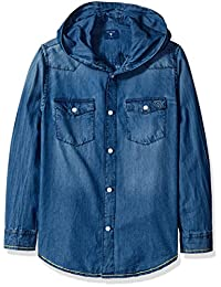GUESS boys Big Boys Hooded Denim Shirt With Applique and Embroidery