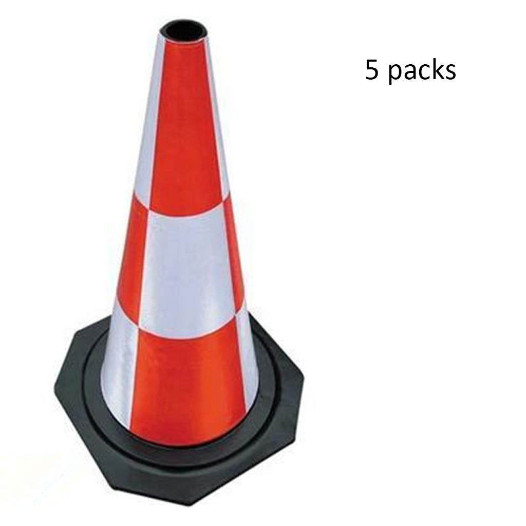 5 Packs 50cm XXW Traffic Cone Rubber Road Cone Full Reflective Isolation Cone Traffic Facilities Collision Traffic Cone Conical Road Sign (color   2 packs, Size   50cm)