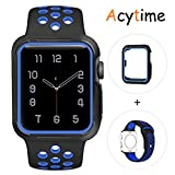 For Apple Watch Band, Acytime Durable Soft Silicone Replacement iWatch Band Sport Style Wrist Strap for Apple Watch Band Series 3 Series 2 Series 1 (Black Blue, 42mm M/L)