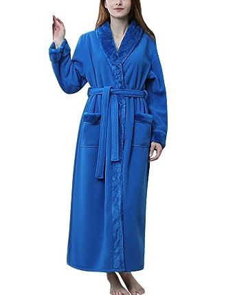 Albornoz con Cuello Chal De Invierno Largos Batas De Casa Kimono para Hombre Y Mujer Suave Y Comodo: Amazon.es: Ropa y accesorios
