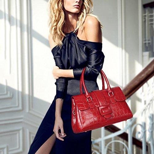 Qjaiqq Moda Mujer Hombro Bolso Bolsos De Red Boston Señora Cocodrilo black pHrqpO