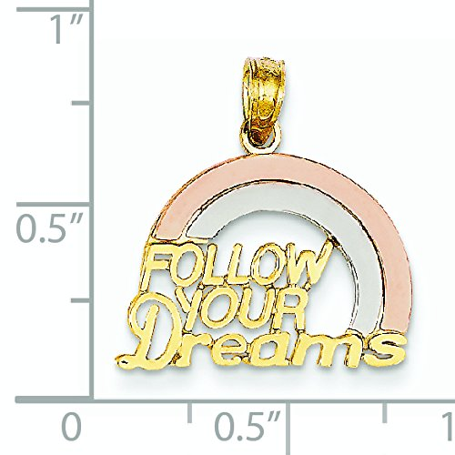 Tri-color 14 carats Follow Your Dreams-Arc-en-ciel-Dimensions :  19,9 JewelryWeb x 18,8 mm -
