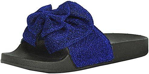 b07cae79995a3 Refresh Footwear Women's Glitter Bow Slip On Slide Sandal (7 B(M) US ...