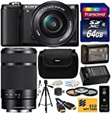 Sony Alpha A5000 20.1 MP Interchangeable Lens Camera with 16-50mm OSS Lens (Black) ILCE5000L & Sony E 55-210mm F4.5-6.3 OSS Lens for Sony E-Mount Cameras with Amateur Accessories Bundle Kit includes 64GB Class 10 SDHC Memory Card + Replacement (1200mAh) N