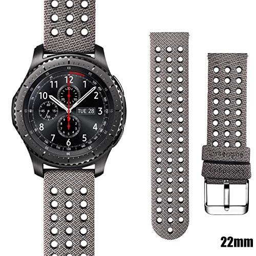 Lwsengme Galaxy Watch 46mm Gear S3 Bands, 22mm Air-Hole Silicone Pattern Replacement Sport Accessories Bands Compatible with Samsung Gear S3 Frontier/Classic/Huawei Watch 2 Classic]()