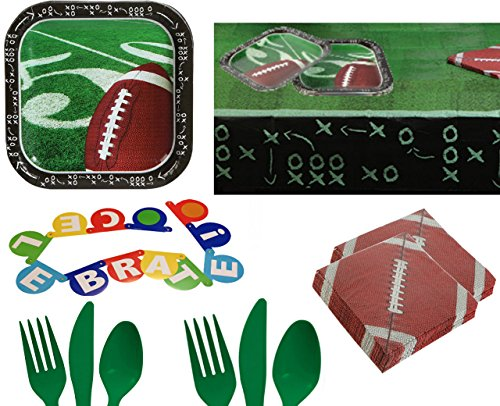 Football Party Supplies For 14 - Tailgating Sports Plates & Napkins, Cutlery, Table Cover - Support Your Favorite College, High School or NFL Team - Toddlers, Boys, Girls, Kids, Adults Birthday Kit