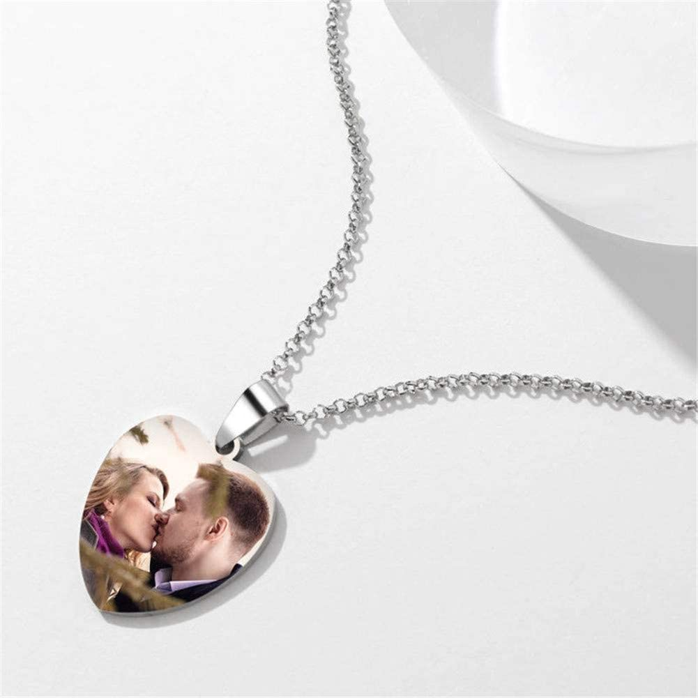 Yvettewu Photo Necklace Personalized Couples Heart-Shaped Tag Necklace with Engraving Platinum Plated Copper