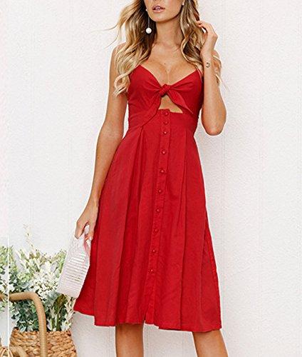Vestido de por Partido Atractivo Rojo Lazo Tirantes Playa Backless Mujer Colores Midi Lisos Verano Casual Rodilla Botón La Vestidos Rangeyes q4xZAapwX
