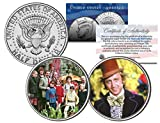 WILLY WONKA & THE CHOCOLATE FACTORY Movie Colorized JFK Half Dollar 2-Coin Set by Merrick Mint