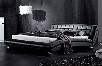 Modern Furniture Direct Atlanta King Size Designer Leather Bed Frame, 5 Ft,  Black