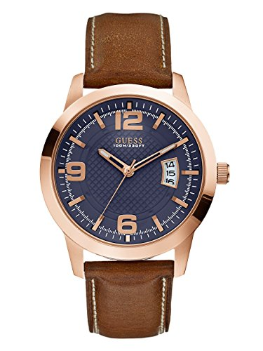 GUESS-Mens-U0494G2-Contemporary-Rose-Gold-Tone-Stainless-Steel-Watch-With-Honey-Brown-Leather-Band