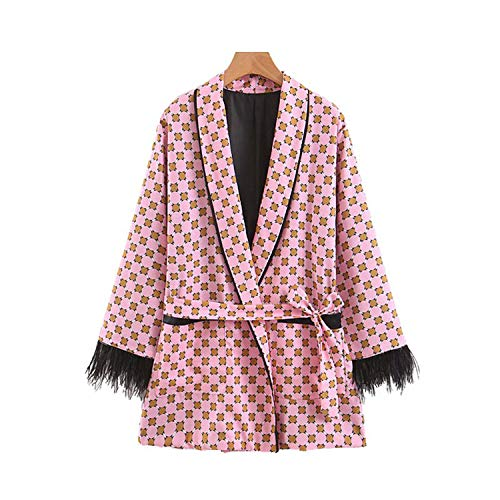 (Women Pink Print Long Sleeve Blazer Notched Collar Pockets Sashes Vintage Tassel Casual Chic Outwear Tops CA463, L)