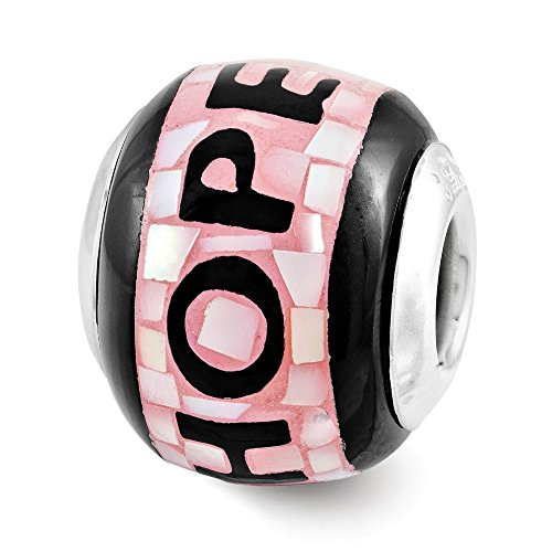 Reflection Beads Sterling Silver Pink and Black Mop Hope Mosaic Bead (16x14 (Cancer Mop)