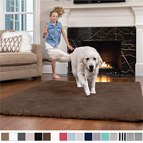 GORILLA GRIP Original Faux-Chinchilla Nursery Area Rug, (4' x 6') Super Soft & Cozy High Pile Machine Washable Carpet, Modern Rugs for Floor, Luxury Shag Carpets for Home Bed/Living Room (Brown)