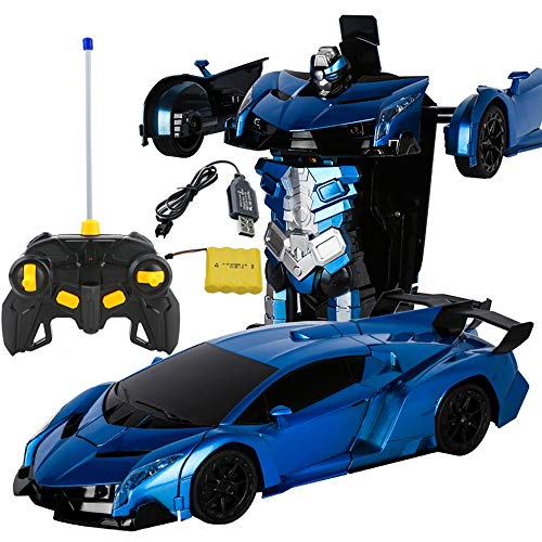 LSQR Upgraded Version RC Car Models Transformation Robots Remote Control Deformation Luxurious Car RC Robots Kids Toys Gifts,Blue -