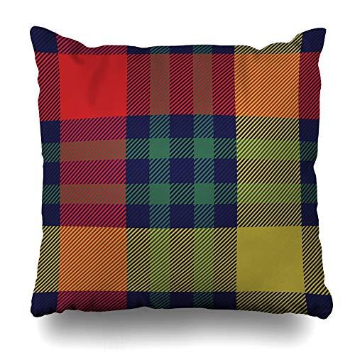 DIYCow Throw Pillows Covers Rural Pattern Tartanplaid Tartan Plaid Abstract Madras Britain Celtic Check Checkered Christmas Home Decor Pillowcase Square Size 16 x 16 Inches Cushion Case