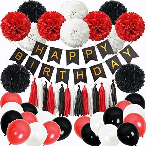 InBy Mickey Mouse Black and Red Happy Birthday Party Decoration Set Minnie Mouse Party Supplies Kit - Happy Birthday Banner, Tissue Paper Pom Pom, Tassel Garland, Latex -