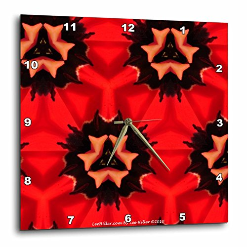 3dRose Lee Hiller Designs Kaleidoscope - Kaleidoscope Tulip Red 2-10x10 Wall Clock (dpp_5795_1)
