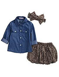 Kidsmall Baby Girls 3 Pcs Skirt Set Girls Outfits Jean Shirt +Skirt + Headband
