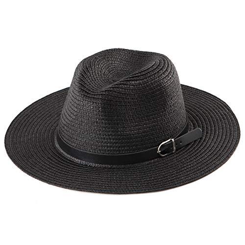 - Wide Brim Sun Hat Women - Black Fedora Hat for Women Straw Hat Beach Fedora Men