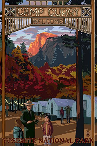 Yosemite National Park, California - Camp Curry (9x12 Art Print, Wall Decor Travel Poster) ()