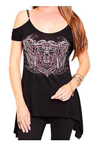 Harley-Davidson Women's Embellished Open Shoulder Short Sleeve Tee, Black (M)