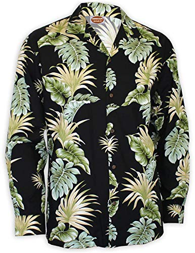 Lei of Aloha Black Long Sleeves Hawaiian Shirt, Large, Black