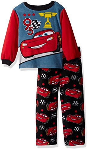 Disney Toddler Boys' Cars 2-piece Fleece Pajama Set, Red, 2T