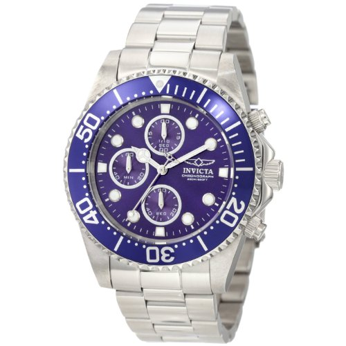 Invicta Men's 1769 Pro Diver Collection Stainless Steel Bracelet Watch with Blue Dial (Diver Chronograph Bracelet)